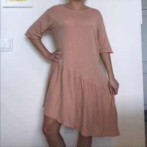 Zara Pink Knit Asymmetrical Cotton Dress S